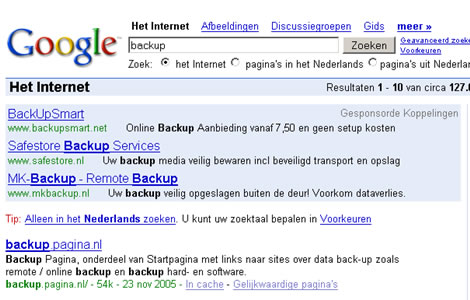 Google resultaat zoekterm backup