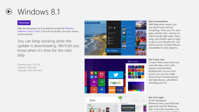 Windows 8.1 nu te downloaden